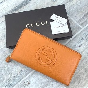Gucci Orange Pumpkin Leather XL Organizer Wallet
